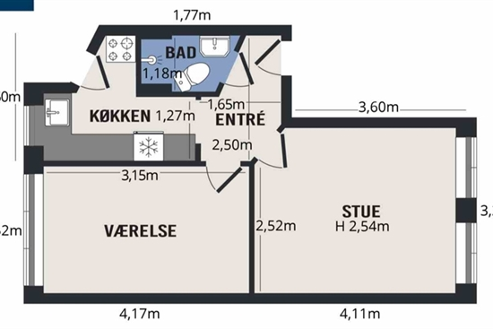42 m2 lejlighed i København Nørrebro til leje